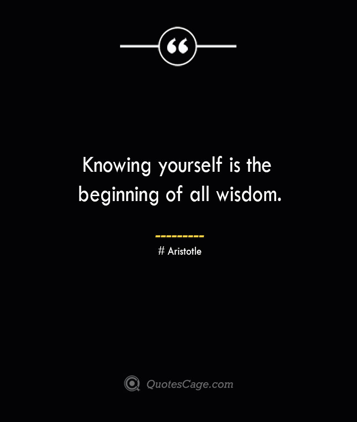 Knowing yourself is the beginning of all wisdom.— Aristotle