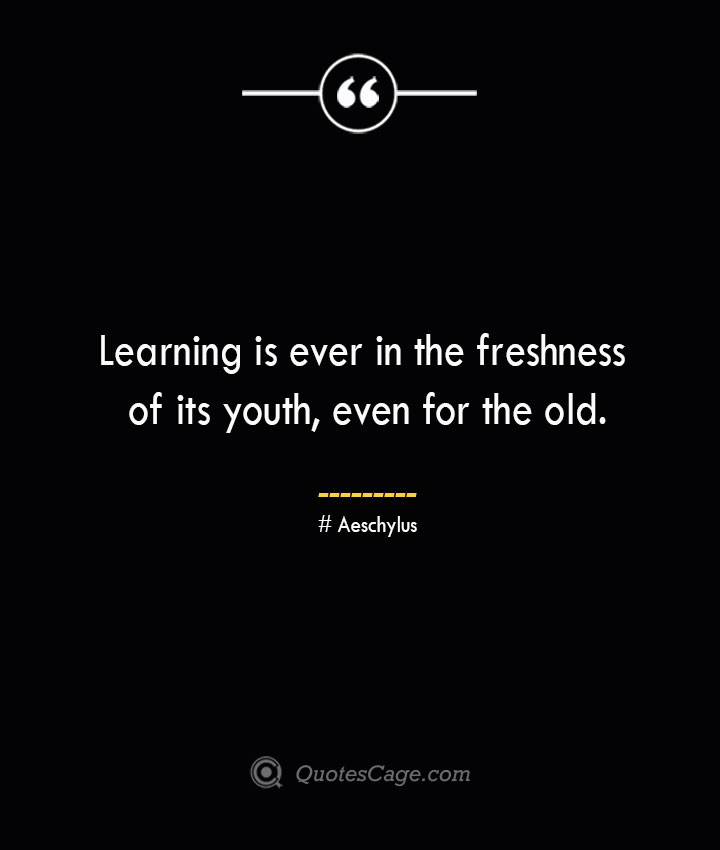 Learning is ever in the freshness of its youth even for the old. Aeschylus