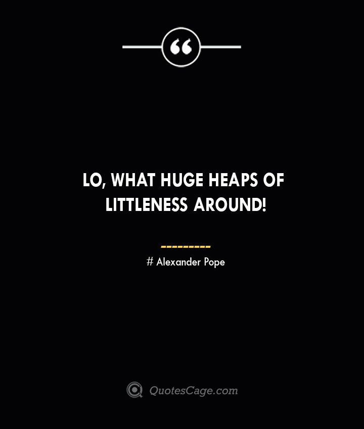 Lo what huge heaps of littleness around— Alexander Pope 1