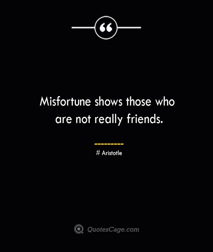 Misfortune shows those who are not really friends. Aristotle