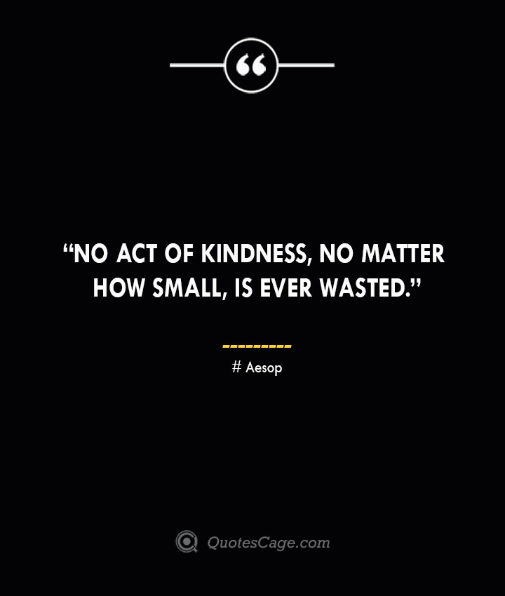 No act of kindness no matter how small is ever wasted. —Aesop