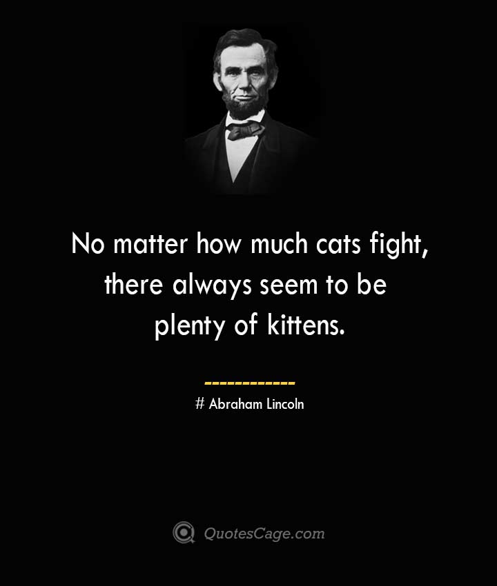 No matter how much cats fight there always seem to be plenty of kittens. –Abraham Lincoln