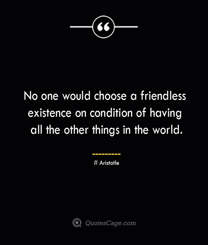 No one would choose a friendless existence on condition of having all the other things in the world. Aristotle