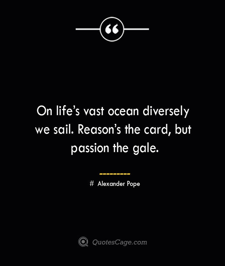 On lifes vast ocean diversely we sail. Reasons the card but passion the gale.— Alexander Pope