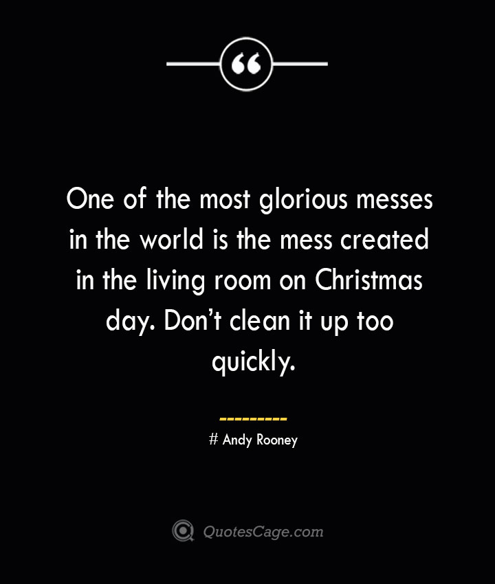 One of the most glorious messes in the world is the mess created in the living room on Christmas day. Dont clean it up too quickly.— Andy Rooney