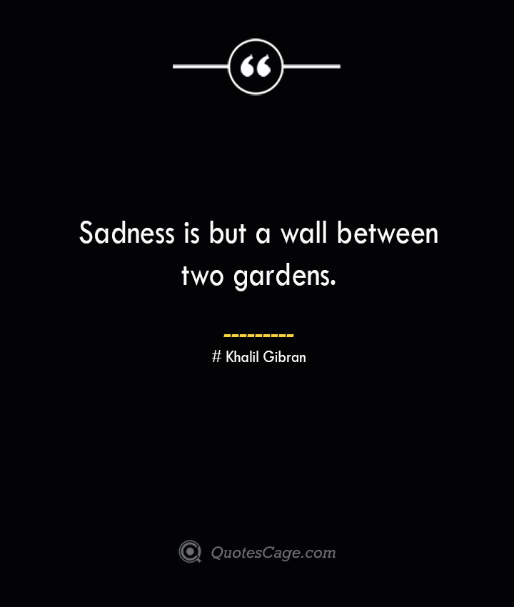 Sadness is but a wall between two gardens.— Khalil Gibran