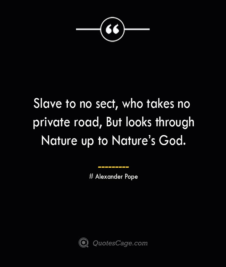 Slave to no sect who takes no private road But looks through Nature up to Natures God.— Alexander Pope