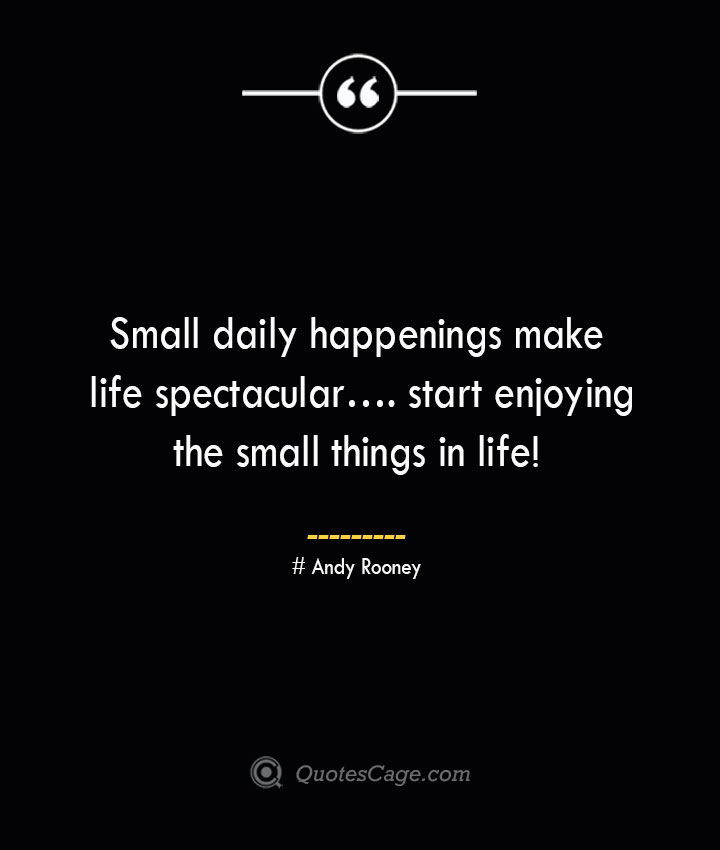 Small daily happenings make life spectacular…. start enjoying the small things in life— Andy Rooney
