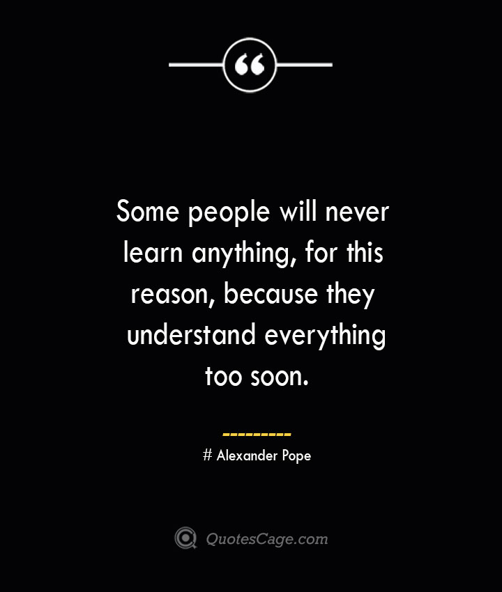 Some people will never learn anything for this reason because they understand everything too soon.— Alexander Pope