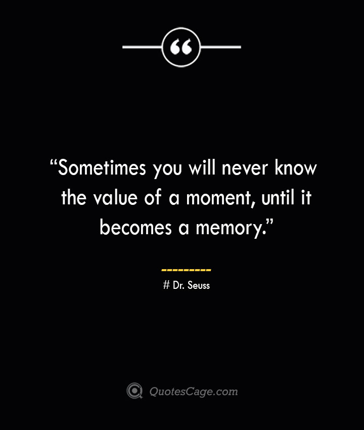 Sometimes you will never know the value of a moment until it becomes a memory. —Dr. Seuss
