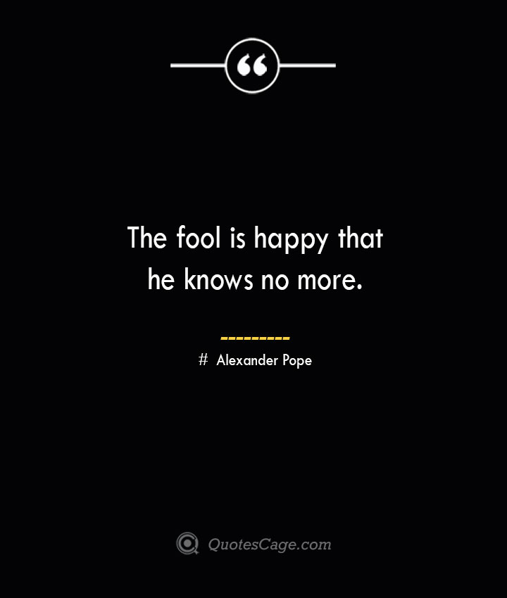 The fool is happy that he knows no more..— Alexander Pope