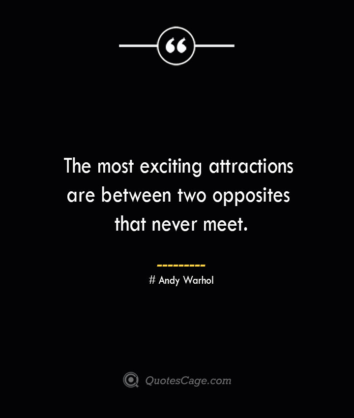 The most exciting attractions are between two opposites that never meet.— Andy Warhol