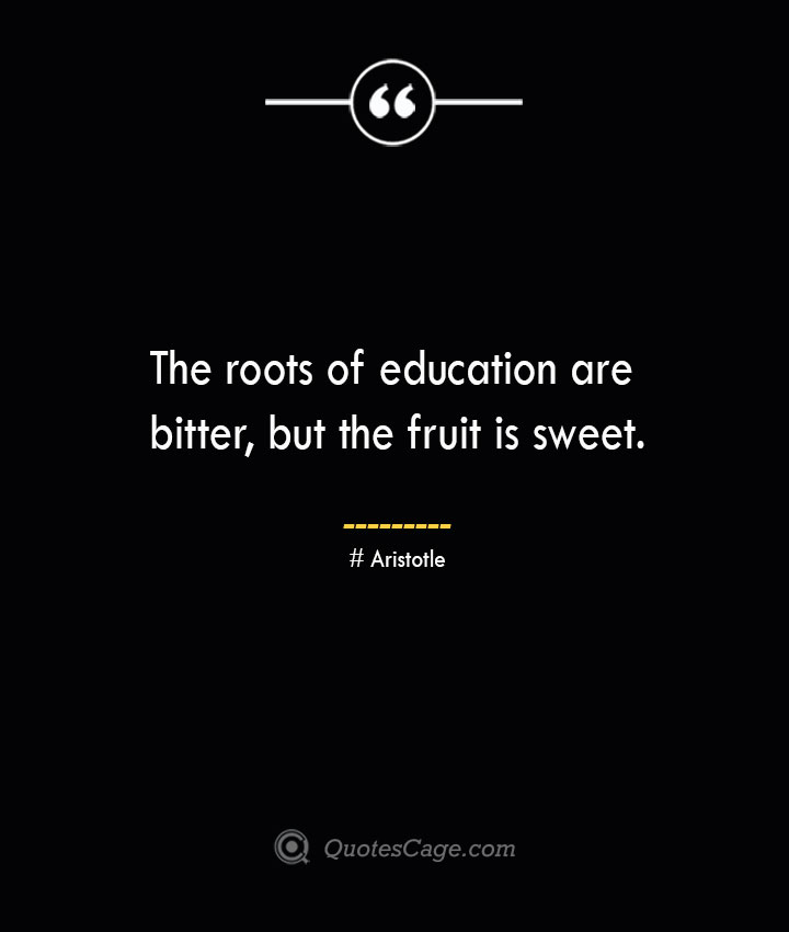 The roots of education are bitter but the fruit is sweet.— Aristotle