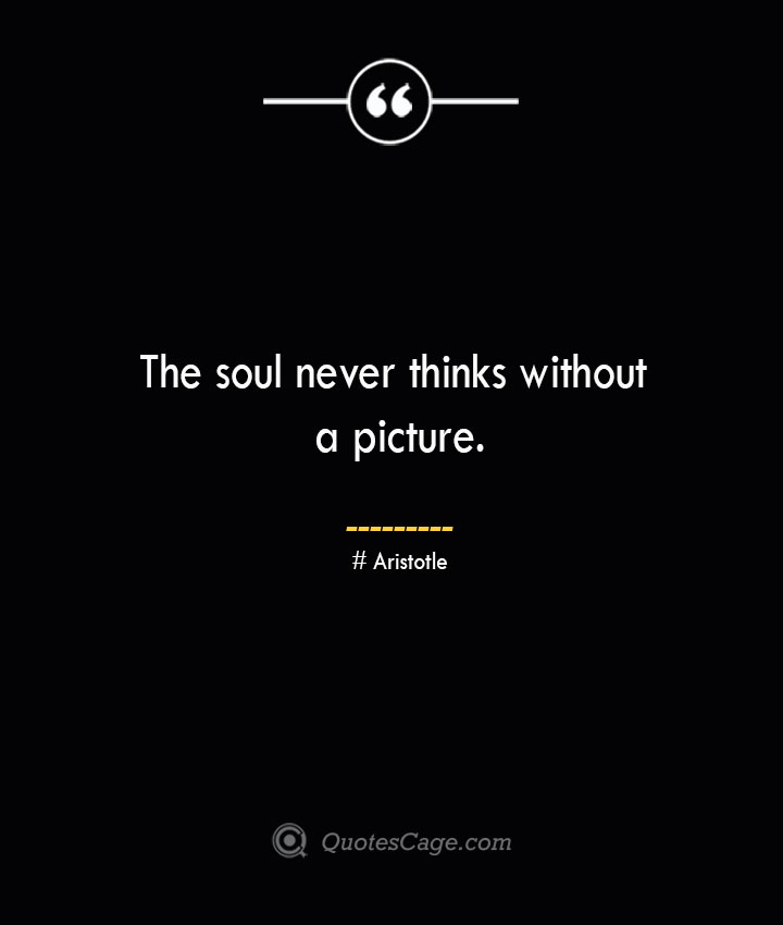 The soul never thinks without a picture. Aristotle