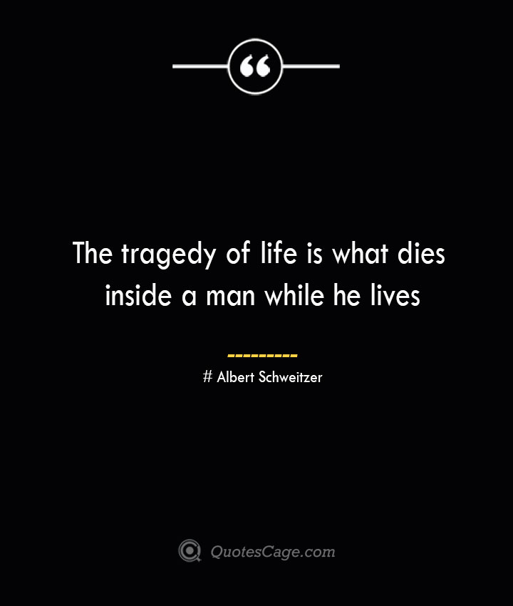 The tragedy of life is what dies inside a man while he lives — Albert Schweitzer