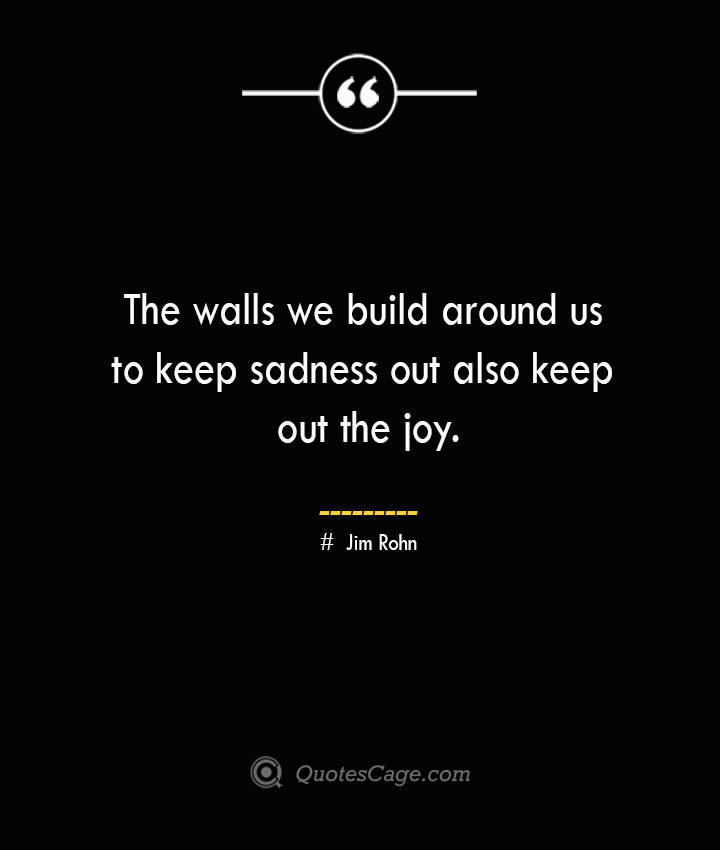 The walls we build around us to keep sadness out also keep out the joy.— Jim Rohn