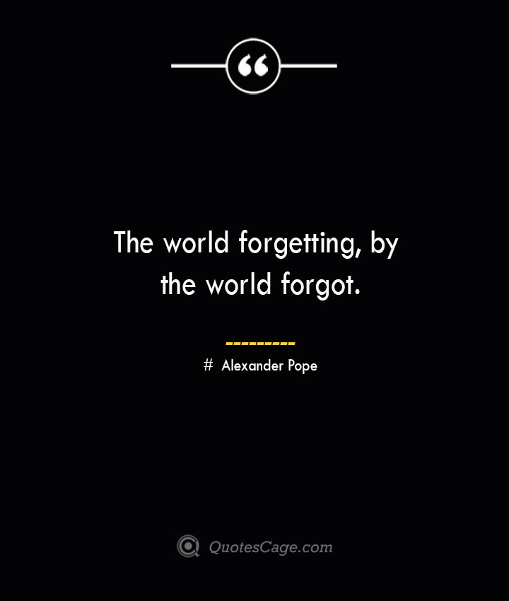 The world forgetting by the world forgot.— Alexander Pope