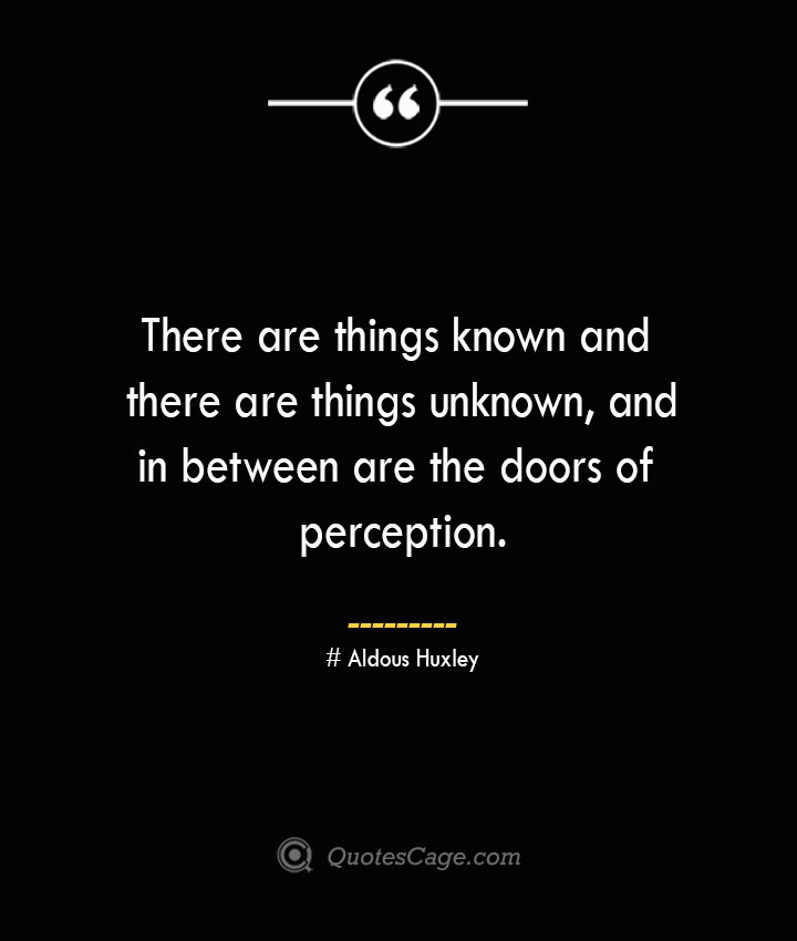 There are things known and there are things unknown and in between are the doors of perception. — Aldous Huxley 1