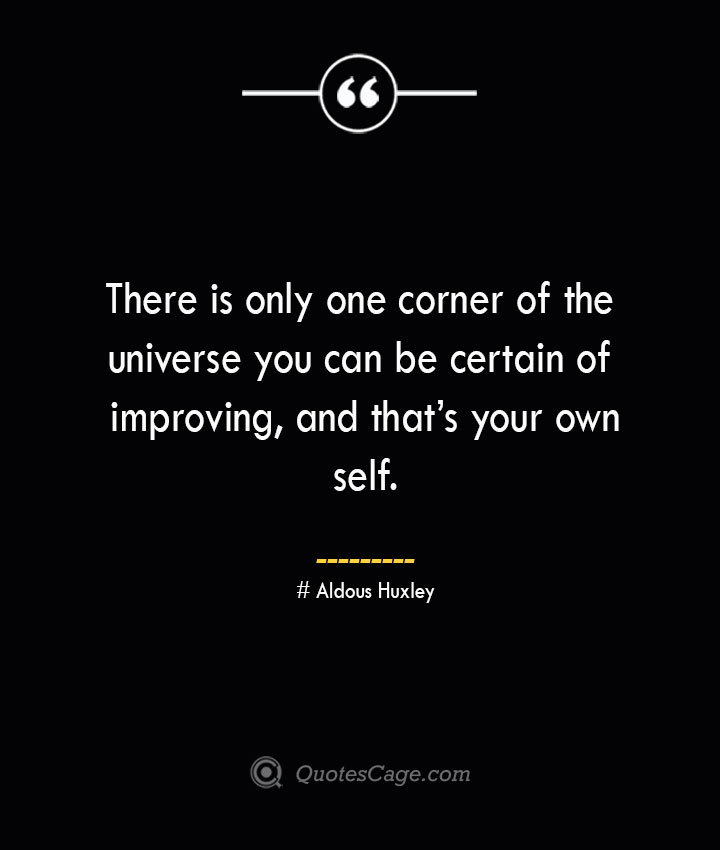 There is only one corner of the universe you can be certain of improving and thats your own self.— Aldous