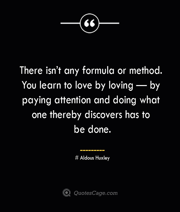 There isnt any formula or method. You learn to love by loving — by paying attention and doing what one thereby discovers has to be done.— Aldous