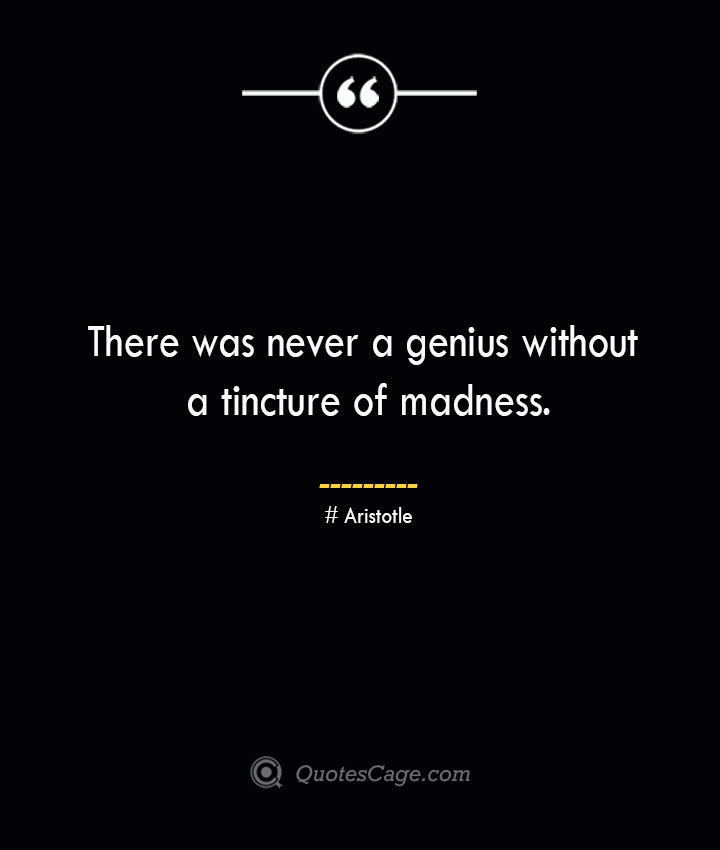 There was never a genius without a tincture of madness. Aristotle