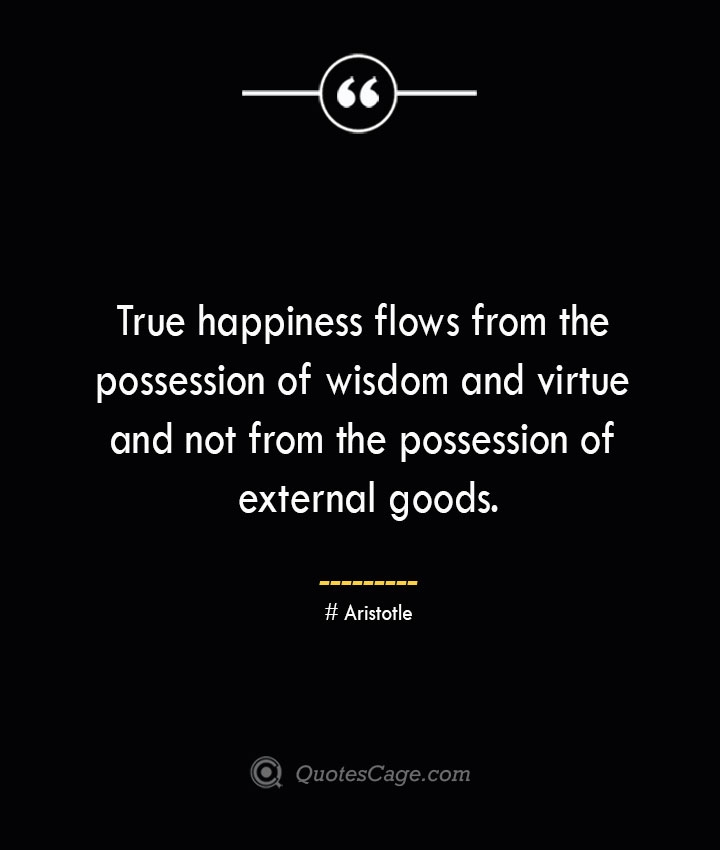 True happiness flows from the possession of wisdom and virtue and not from the possession of external goods.— Aristotle