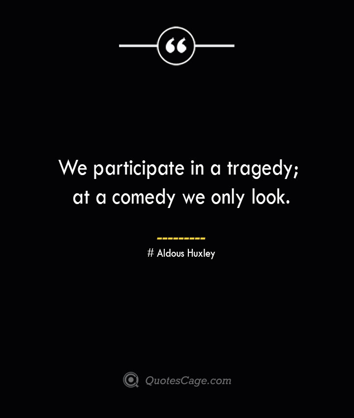 We participate in a tragedy at a comedy we only look.— Aldous