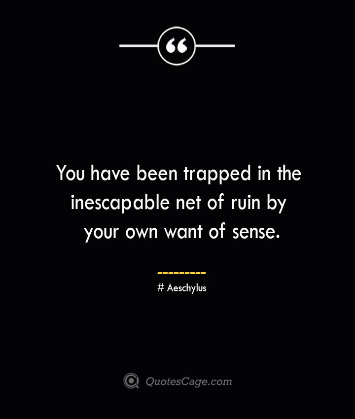 You have been trapped in the inescapable net of ruin by your own want of sense. Aeschylus