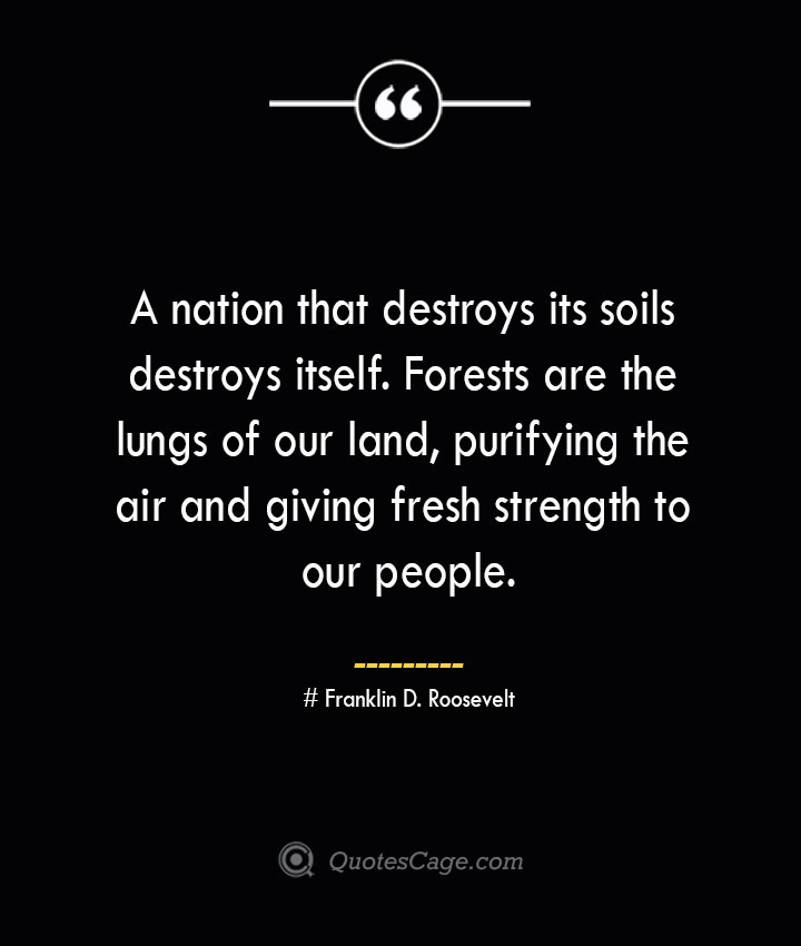 A nation that destroys its soils destroys itself. Forests are the lungs of our land purifying the air and giving fresh strength to our people.— Franklin D. Roosevelt