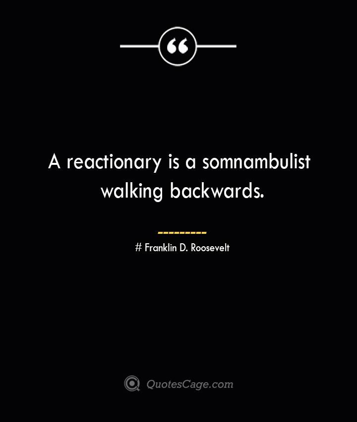 A reactionary is a somnambulist walking backwards.— Franklin D. Roosevelt