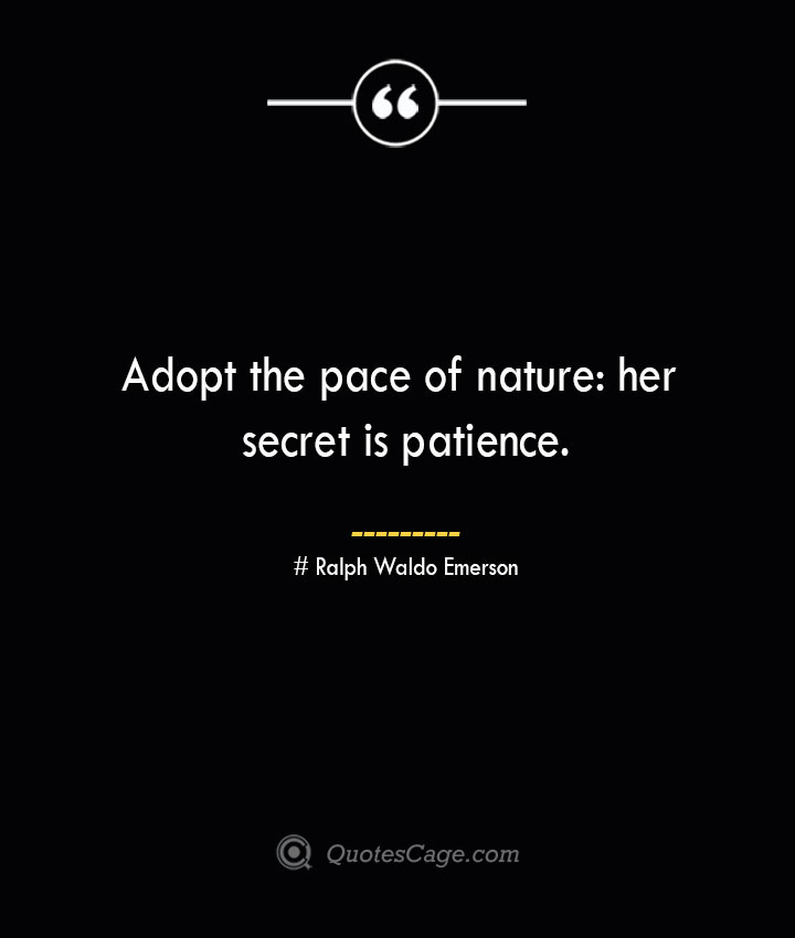 Adopt the pace of nature her secret is patience.— Ralph Waldo Emerson