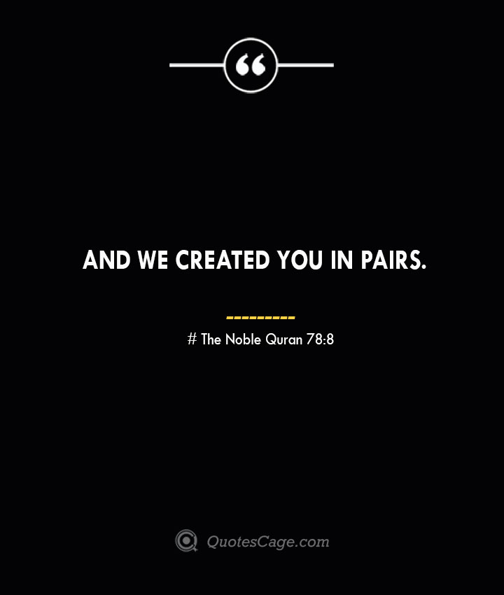 And We created you in pairs. — The Noble Quran 788