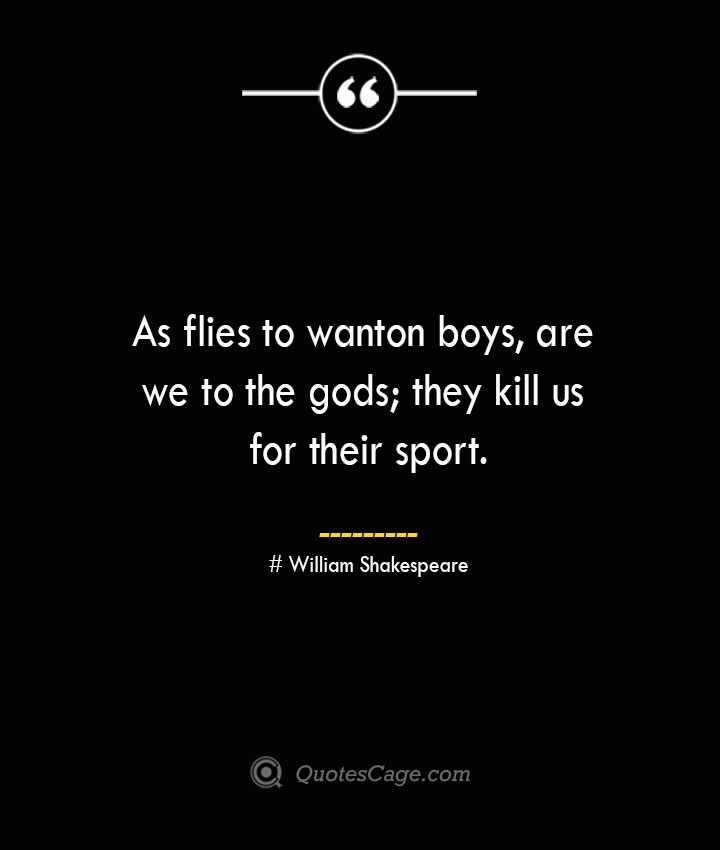 As flies to wanton boys are we to the gods they kill us for their sport. William Shakespeare