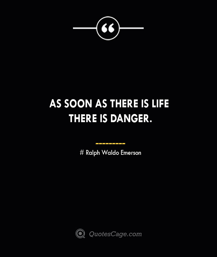 As soon as there is life there is danger.— Ralph Waldo Emerson