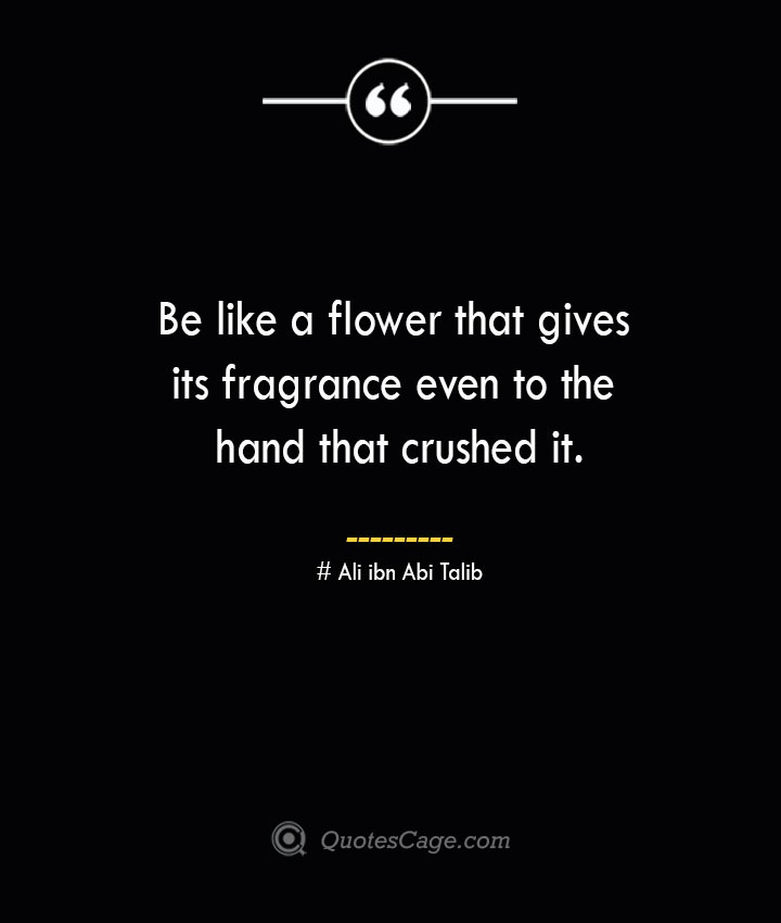 Be like a flower that gives its fragrance even to the hand that crushed it.— Ali ibn Abi Talib