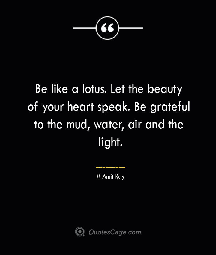 Be like a lotus. Let the beauty of your heart speak. Be grateful to the mud water air and the light.— Amit Ray