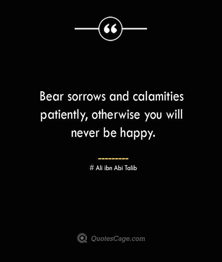 Bear sorrows and calamities patiently otherwise you will never be happy.— Ali ibn Abi Talib