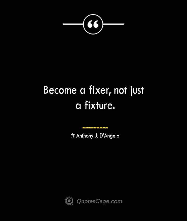 Become a fixer not just a fixture.— Anthony J. DAngelo