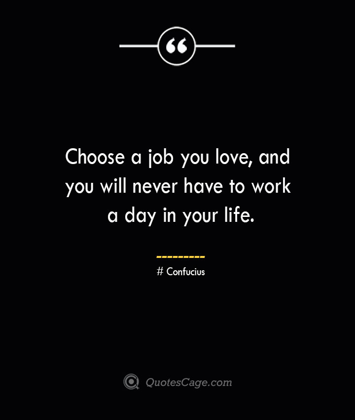 Choose a job you love and you will never have to work a day in your life.— Confucius