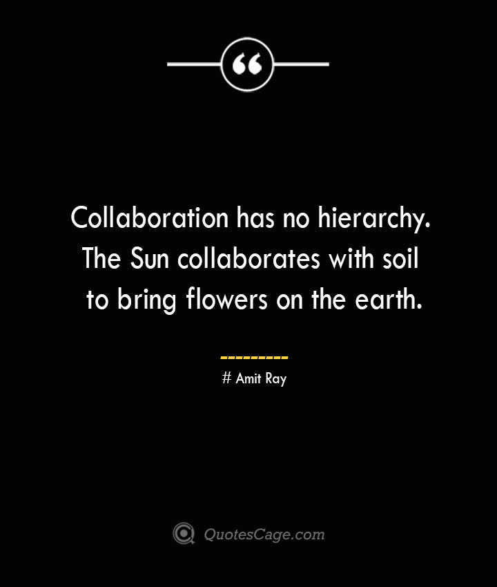 Collaboration has no hierarchy. The Sun collaborates with soil to bring flowers on the earth.— Amit Ray