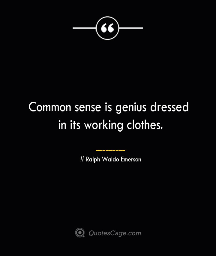 Common sense is genius dressed in its working clothes.— Ralph Waldo Emerson