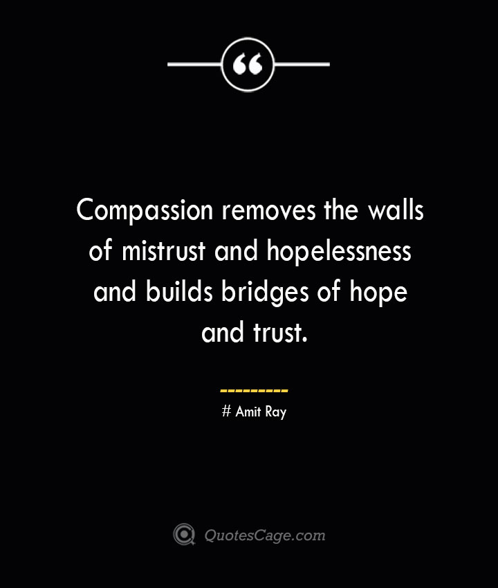 Compassion removes the walls of mistrust and hopelessness and builds bridges of hope and trust.— Amit Ray 1