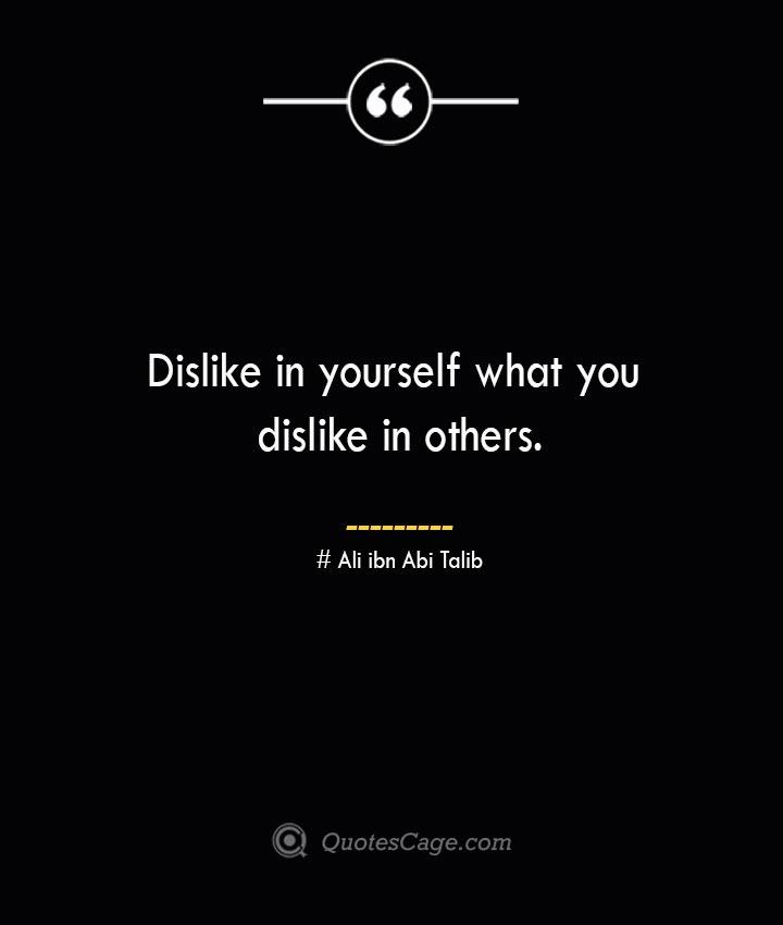 Dislike in yourself what you dislike in others.— Ali ibn Abi Talib