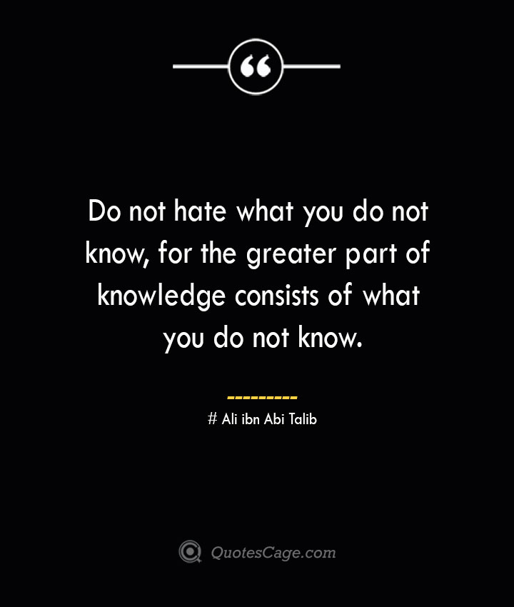 Do not hate what you do not know for the greater part of knowledge consists of what you do not know.— Ali ibn Abi Talib