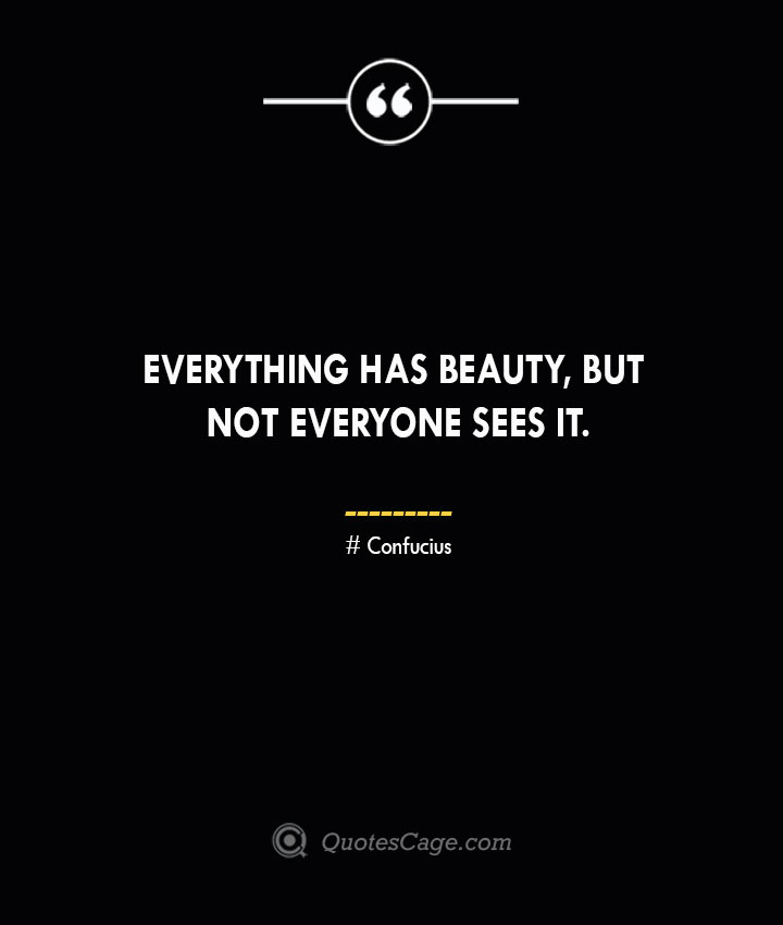 Everything has beauty but not everyone sees it.— Confucius 1