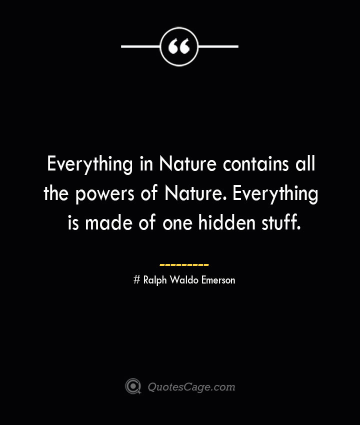 Everything in Nature contains all the powers of Nature. Everything is made of one hidden stuff.— Ralph Waldo Emerson