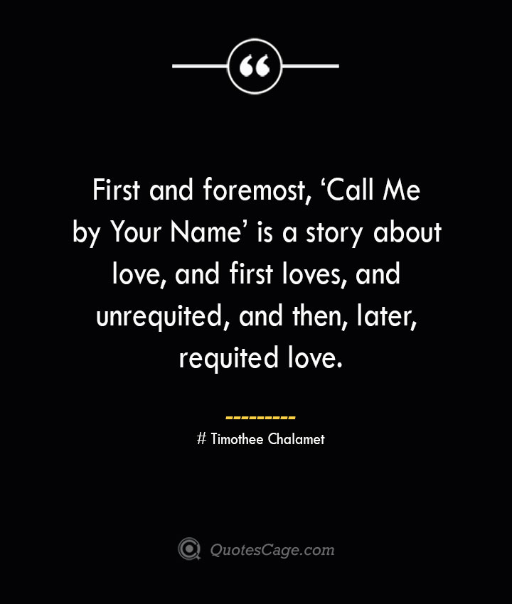 First and foremost 'Call Me by Your Name is a story about love and first loves and unrequited and then later requited love.— Timothee Chalamet
