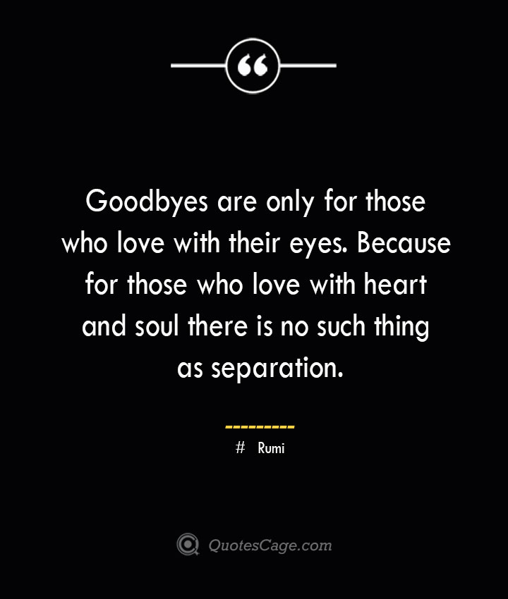 Goodbyes are only for those who love with their eyes. Because for those who love with heart and soul there is no such thing as separation. ― Rumi