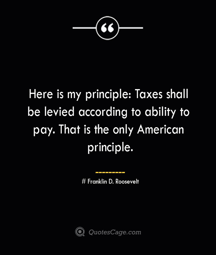 Here is my principle Taxes shall be levied according to ability to pay. That is the only American principle.— Franklin D. Roosevelt