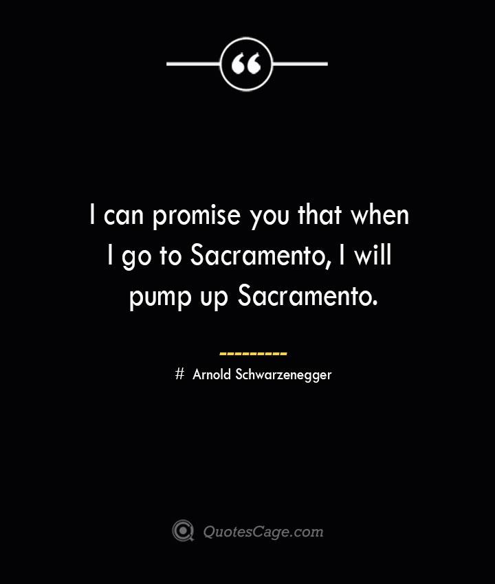 I can promise you that when I go to Sacramento I will pump up Sacramento.— Arnold